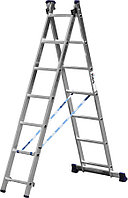 Лестница универсальная двухсекционная Сибин, число ступеней 2 х 7, алюминий, максимальная нагрузка 150 кг (38823-07)