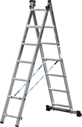 Лестница универс. двухсекционная Сибин, 2 х 7 (секц../ступен..), алюминий, макс нагрузка 150 кг (38823-07), фото 2