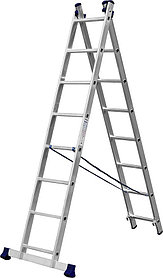 Лестница универс. двухсекционная Сибин, 2 х 8 (секц../ступен..), алюминий, макс нагрузка 150 кг (38823-08)