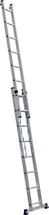 Лестница универс. двухсекционная Сибин, 2 х 8 (секц../ступен..), алюминий, макс нагрузка 150 кг (38823-08), фото 2
