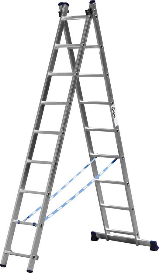 Лестница универс. двухсекционная Сибин, 2 х 9 (секц../ступен..), алюминий, макс нагрузка 150 кг (38823-09)