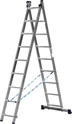 Лестница универс. двухсекционная Сибин, 2 х 9 (секц../ступен..), алюминий, макс нагрузка 150 кг (38823-09), фото 2