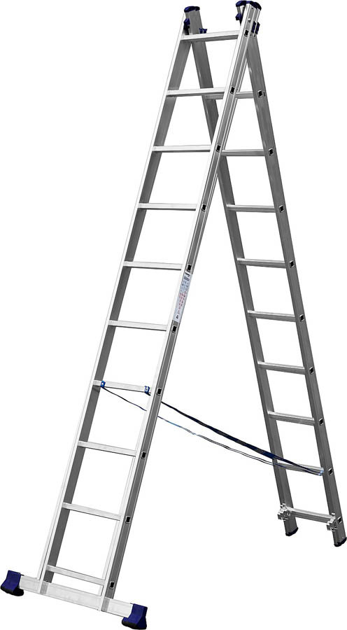 Лестница универс. двухсекционная Сибин, 2 х 10 (секц../ступен..), алюминий, макс нагрузка 150 кг (38823-10)