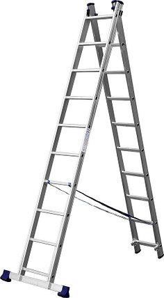Лестница универс. двухсекционная Сибин, 2 х 10 (секц../ступен..), алюминий, макс нагрузка 150 кг (38823-10), фото 2