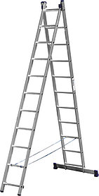 Лестница универс. двухсекционная Сибин, 2 х 11 (секц../ступен..), алюминий, макс нагрузка 150 кг (38823-11)