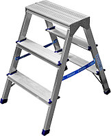 Лестница-стремянка двухсторонняя Сибин, число ступеней 3, алюминий, максимальная нагрузка 150 кг (38825-03)