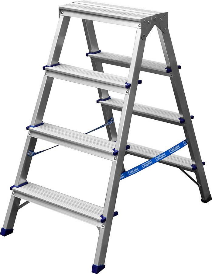Лестница-стремянка двухсторонняя Сибин, число ступеней 4, алюминий, максимальная нагрузка 150 кг (38825-04)