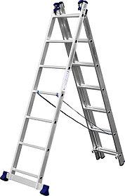 Лестница универс. трехсекционная Сибин, 3 х 7 (секц../ступен..), алюминий, макс нагрузка 150 кг (38833-07)