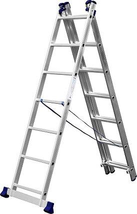 Лестница универс. трехсекционная Сибин, 3 х 7 (секц../ступен..), алюминий, макс нагрузка 150 кг (38833-07), фото 2