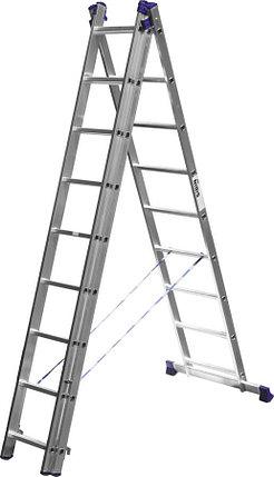 Лестница универс. трехсекционная Сибин, 3 х 9 (секц../ступен..), алюминий, макс нагрузка 150 кг (38833-09), фото 2
