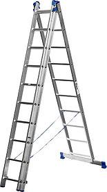 Лестница универс. трехсекционная Сибин, 3 х 10 (секц../ступен..), алюминий, макс нагрузка 150 кг (38833-10)