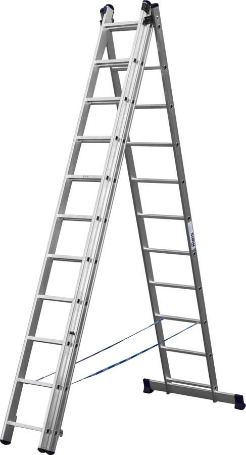 Лестница универс. трехсекционная Сибин, 3 х 11 (секц../ступен..), алюминий, макс нагрузка 150 кг (38833-11)