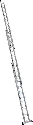 Лестница универс. трехсекционная Сибин, 3 х 11 (секц../ступен..), алюминий, макс нагрузка 150 кг (38833-11), фото 2