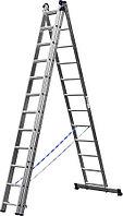 Лестница универс. трехсекционная Сибин, 3 х 12 (секц../ступен..), алюминий, макс нагрузка 150 кг (38833-12)