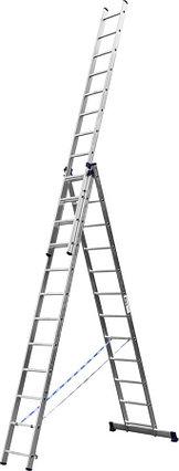 Лестница универс. трехсекционная Сибин, 3 х 12 (секц../ступен..), алюминий, макс нагрузка 150 кг (38833-12), фото 2