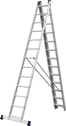 Лестница универс. трехсекционная Сибин, 3 х 13 (секц../ступен..), алюминий, макс нагрузка 150 кг (38833-13), фото 2