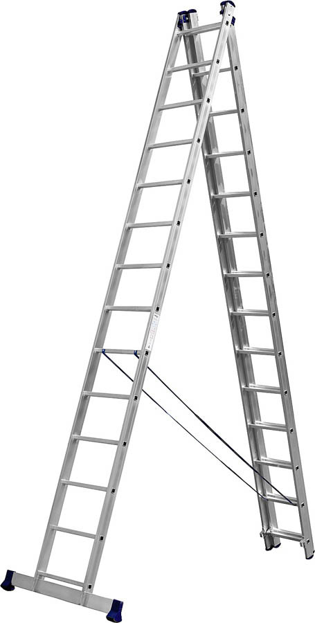 Лестница универс. трехсекционная Сибин, 3 х 14 (секц../ступен..), алюминий, макс нагрузка 150 кг (38833-14)