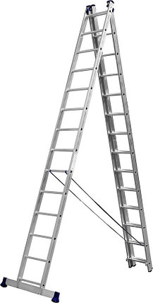 Лестница универс. трехсекционная Сибин, 3 х 14 (секц../ступен..), алюминий, макс нагрузка 150 кг (38833-14), фото 2
