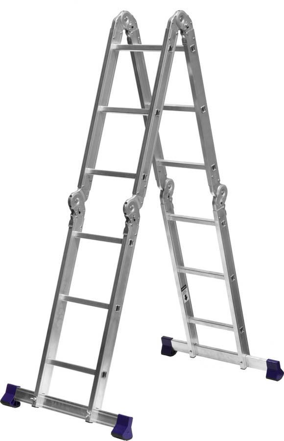 Лестница-трансформер Сибин, число ступеней 4 х 3, алюминий, макс. нагрузка 150 кг (38851)