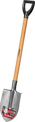 Лопата Мастер-НС, ЗУБР, 380x208x1200 мм, штыковая, нержавеющая, деревянный черенок (39447), фото 2