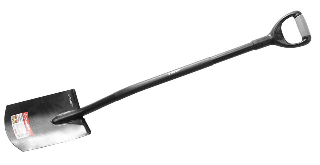 Лопата прямоугольная ЗУБР, стальной черенок, двухкомпонентная рукоятка (39554)