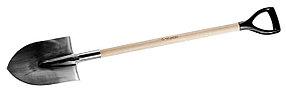 Лопата штыковая, ЗУБР, 290х205х1200 мм, из нержавеющей стали, деревянный черенок, с рукояткой (4-39402_z01)