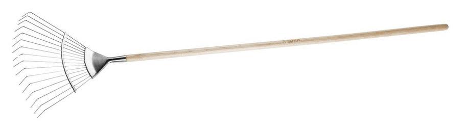 Грабли ЗУБР, 440 х 360 х 1735 мм, 16 круглых зубцов, деревянный черенок из ясеня, из нерж. стали (4-39451_z01), фото 2