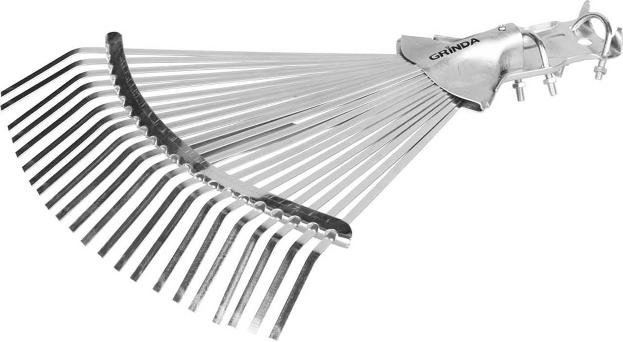 Грабли веерные Grinda, 300 - 440 мм, 22 плоских зубца, регулируемые усиленные (421873)