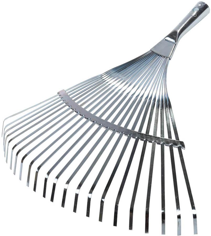 Грабли веерные, Raco, 450 мм, 22 плоских зубца, усиленные, гальваническое покрытие (4231-53/732)