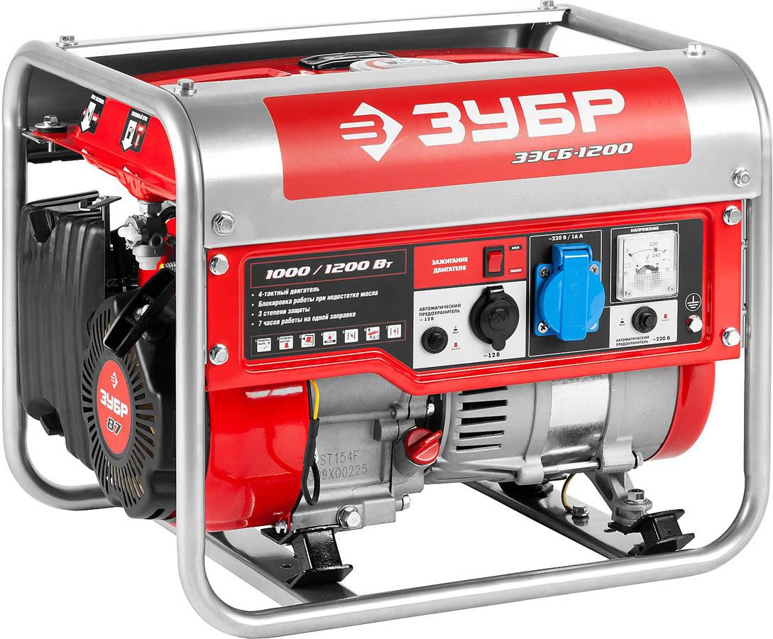 Генератор бензиновый, ЗУБР, 1/1.2 кВт, однофазный, асинхронный, бесщеточный (ЗЭСБ-1200)