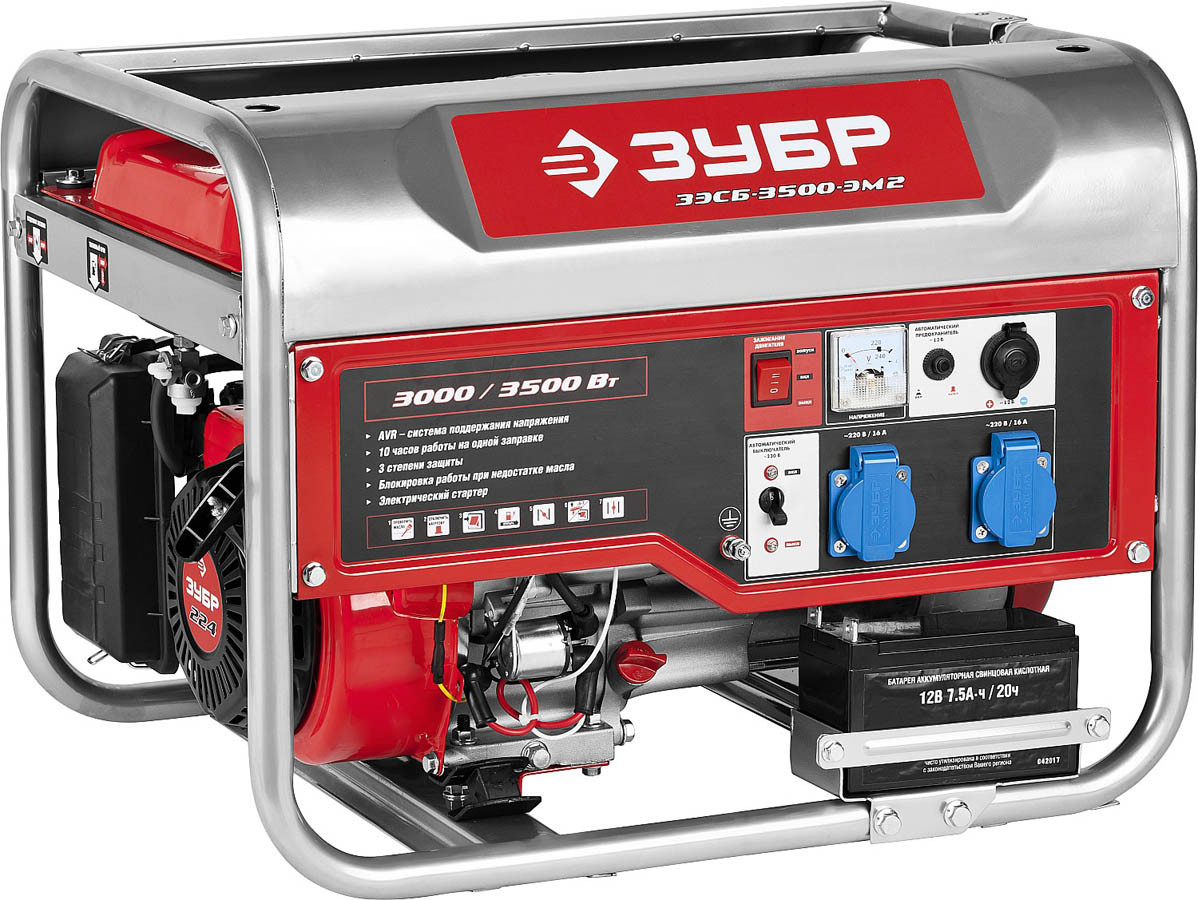 Генератор бензиновый, ЗУБР, 3/3.5 кВт, однофазный, синхронный, щеточный (ЗЭСБ-3500-ЭМ2)