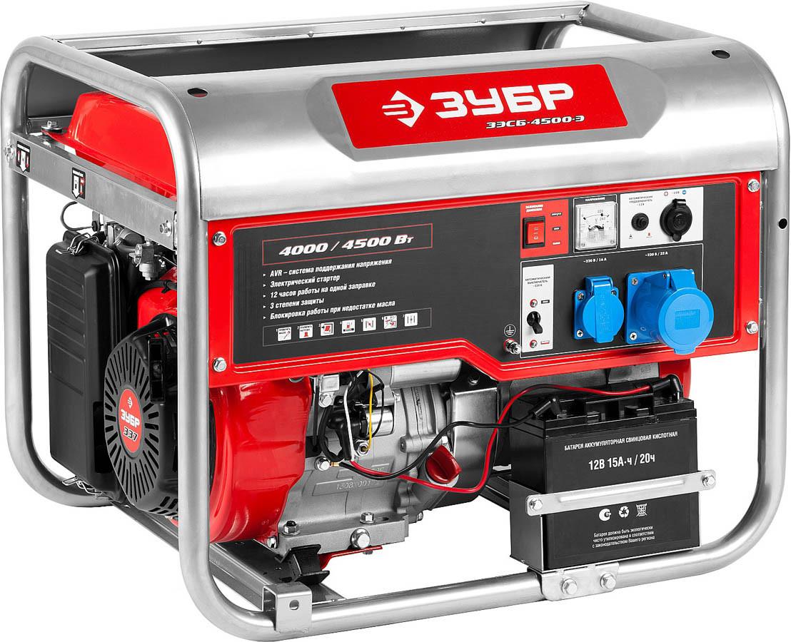 Генератор бензиновый, ЗУБР, 4/4.5 кВт, однофазный, синхронный, щеточный (ЗЭСБ-4500-Э)