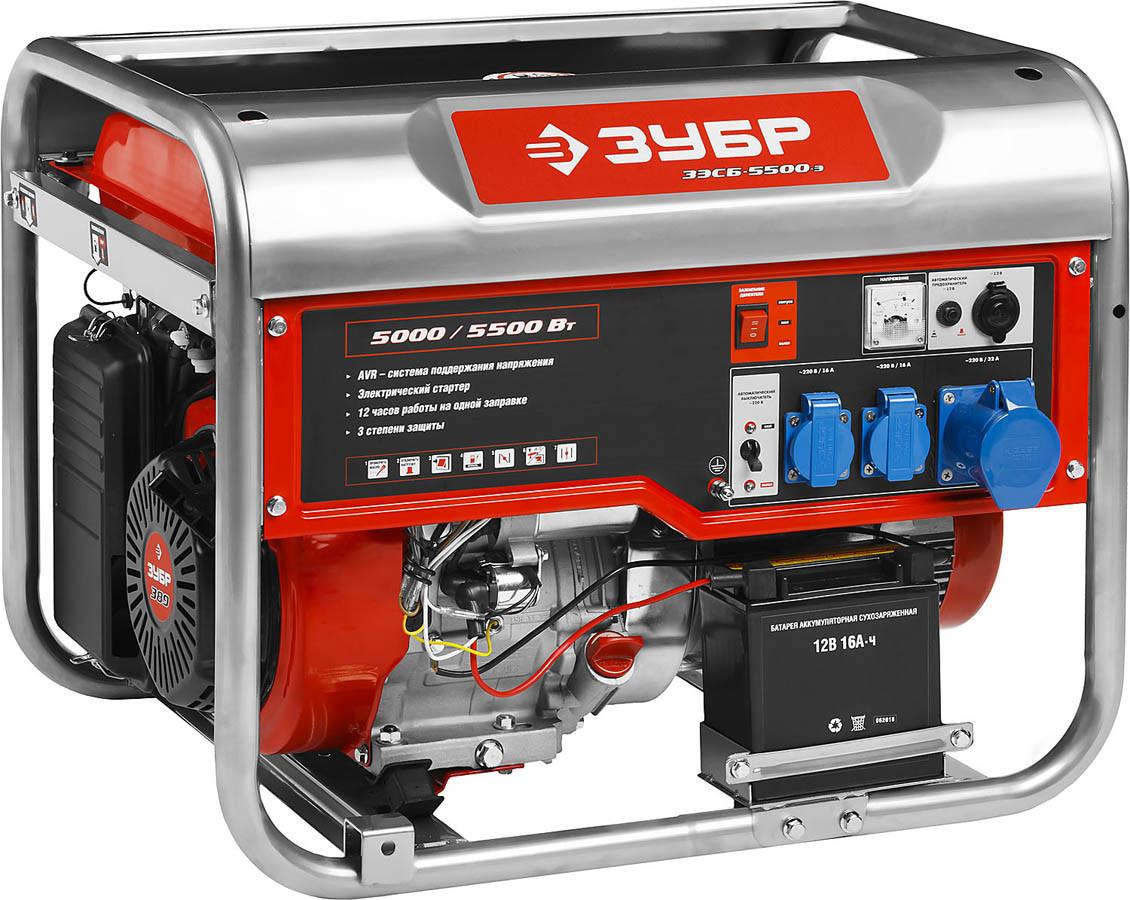 Генератор бензиновый, ЗУБР, 5/5.5 кВт, однофазный, синхронный, щеточный (ЗЭСБ-5500-Э)