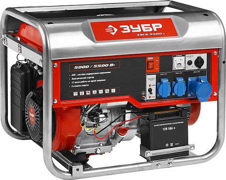 Генератор бензиновый, ЗУБР, 5/5.5 кВт, однофазный, синхронный, щеточный (ЗЭСБ-5500-Э), фото 2