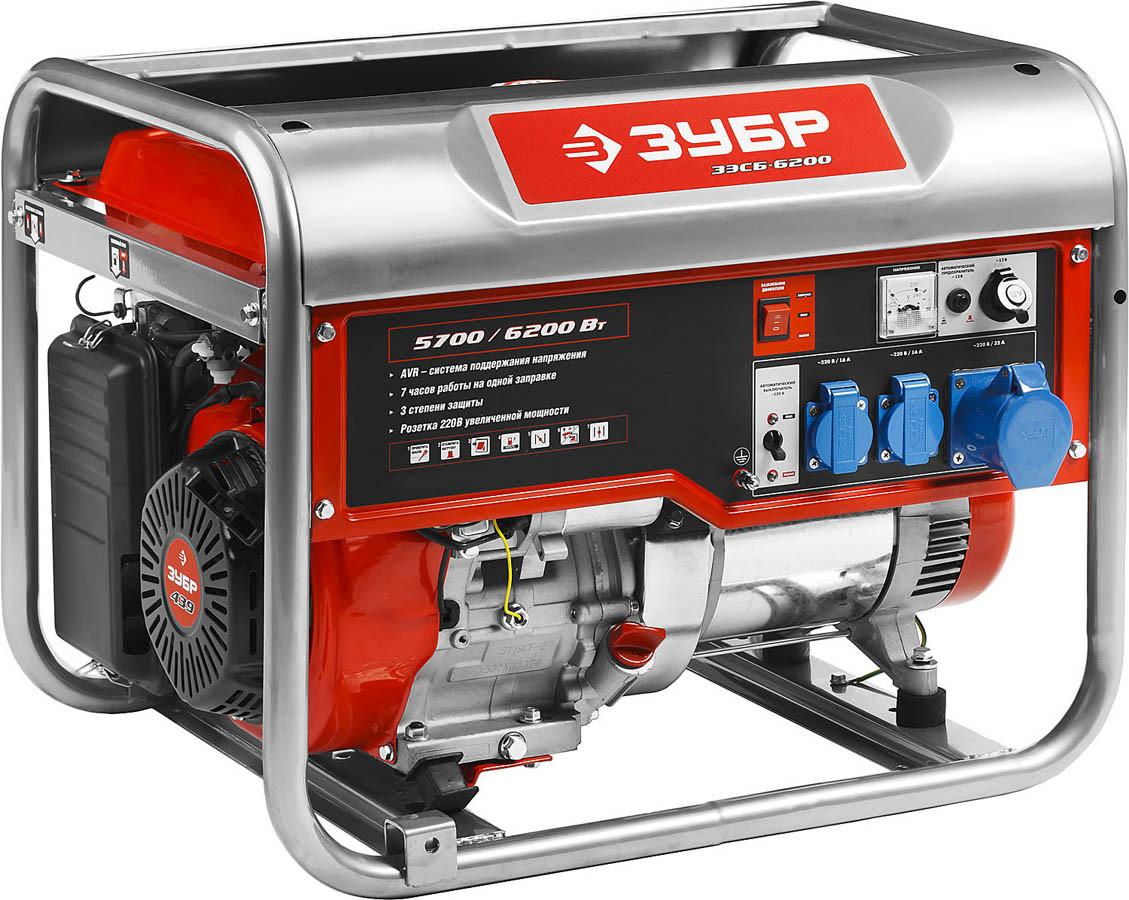 Генератор бензиновый, ЗУБР, 5.7/6.2 кВт, однофазный, синхронный, щеточный (ЗЭСБ-6200)