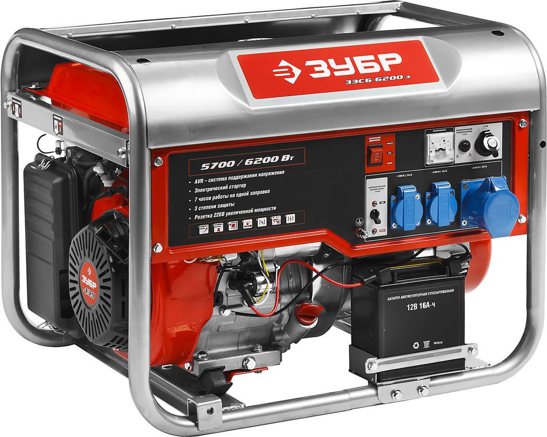 Генератор бензиновый, ЗУБР, 5.7/6.2 кВт, однофазный, синхронный, щеточный (ЗЭСБ-6200-Э)