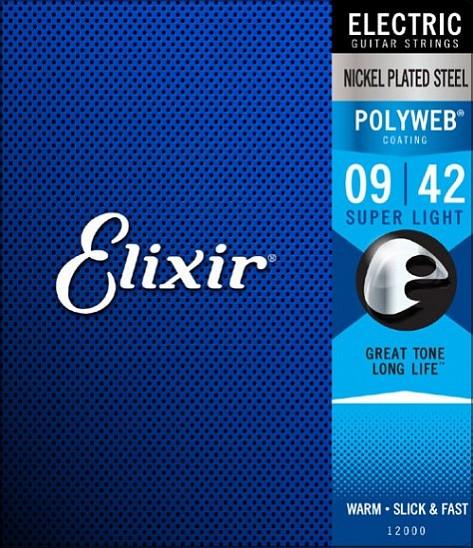 Комплект струн для электрогитары, никелированная сталь, Custom Light 9-42, Elixir POLYWEB