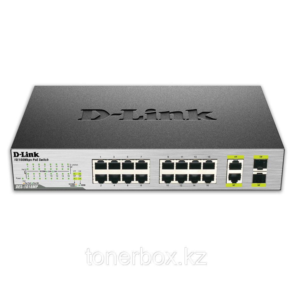 Коммутатор D-link DES-1018P A2A DES-1018P/A2A (100 Base-TX (100 мбит/с), Без SFP портов)