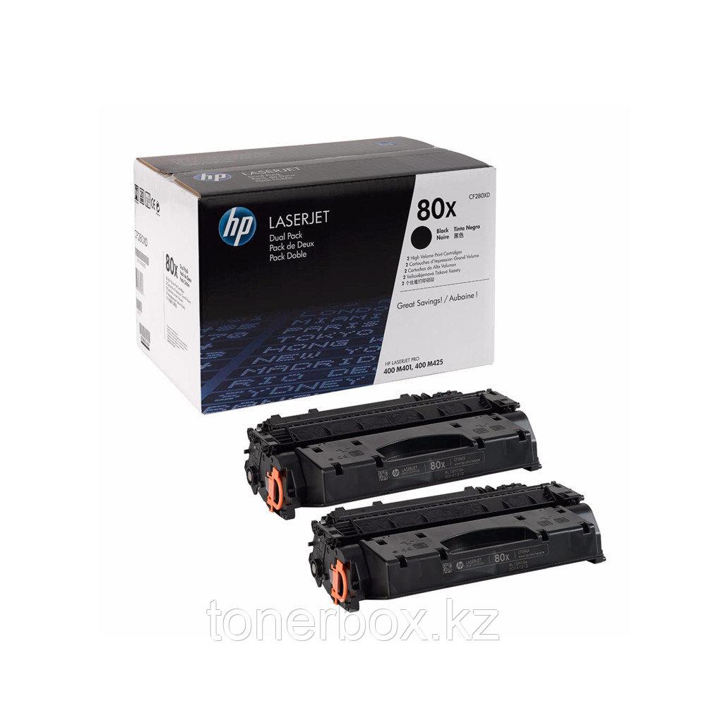 Лазерный картридж HP 80X увеличенной емкости, Черные 2 шт. CF280XF