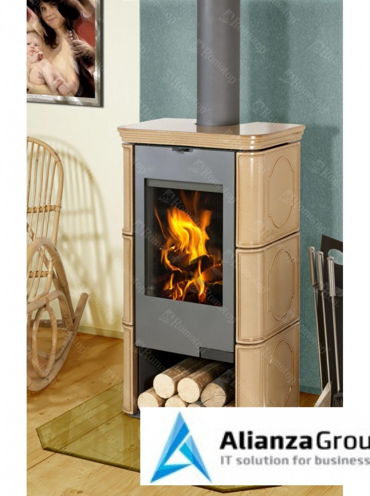 Печь-камин Romotop TALA 11 керамика с водонагревательным теплообменником
