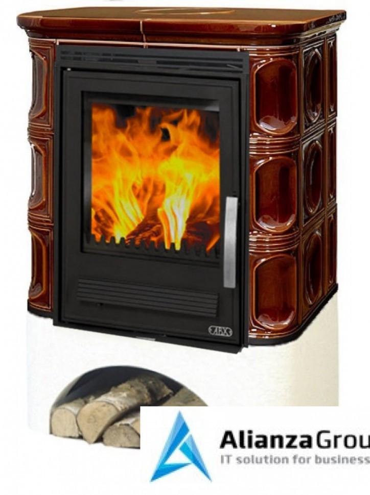 Кафельная печь-камин ABX Marina LP (белый цоколь, вставка чугунная)