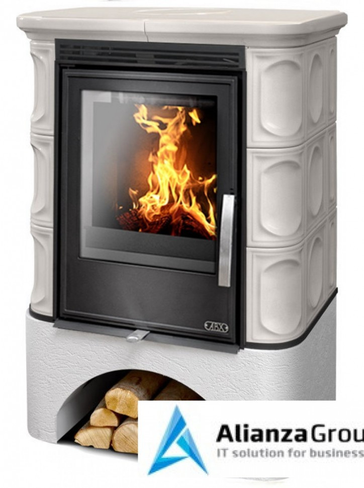 Кафельная печь-камин ABX Marina KPI (белый цоколь, вставка комбо, допуск воздуха извне)