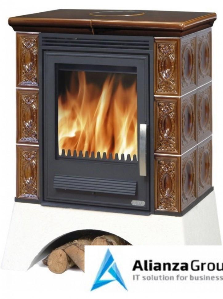 Кафельная печь-камин ABX Helvetia KP (белый цоколь, вставка комбо)
