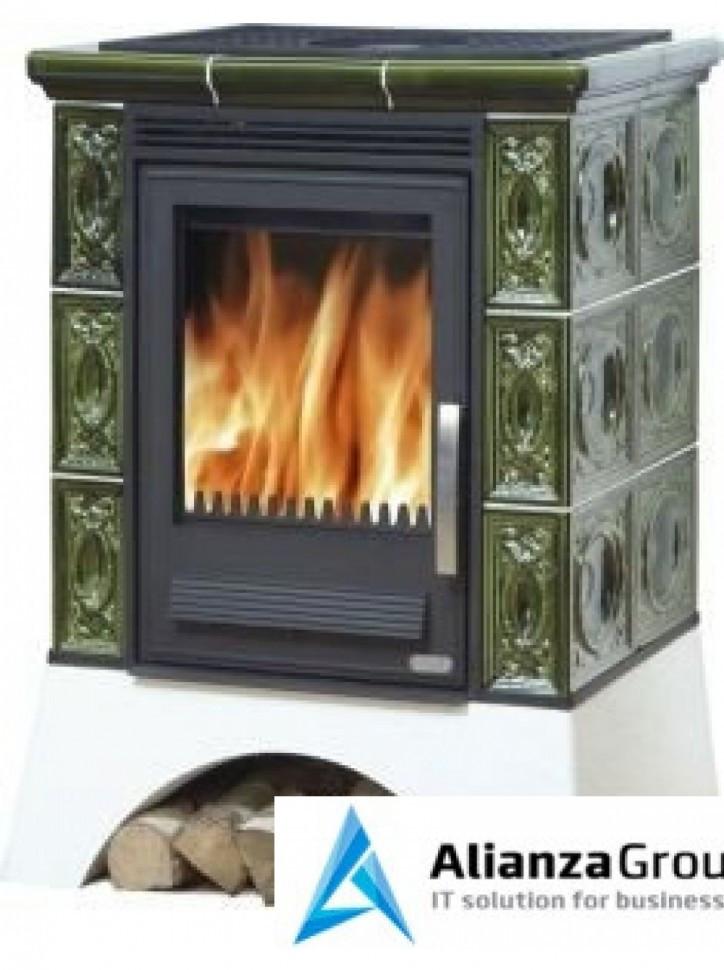 Кафельная печь-камин ABX Helvetia K (белый цоколь, вставка комбо)