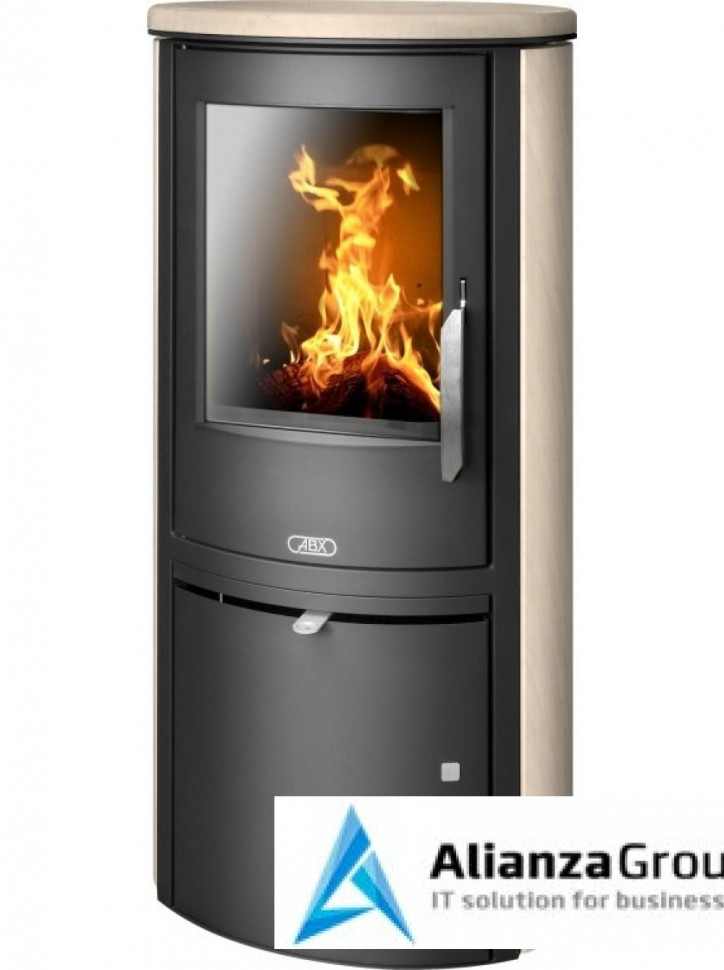 Печь-камин ABX Brent (черная сталь, мокка крем)