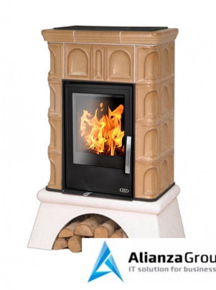 Кафельная печь-камин ABX Britania KI (белый цоколь, вставка комбо, допуск воздуха извне)