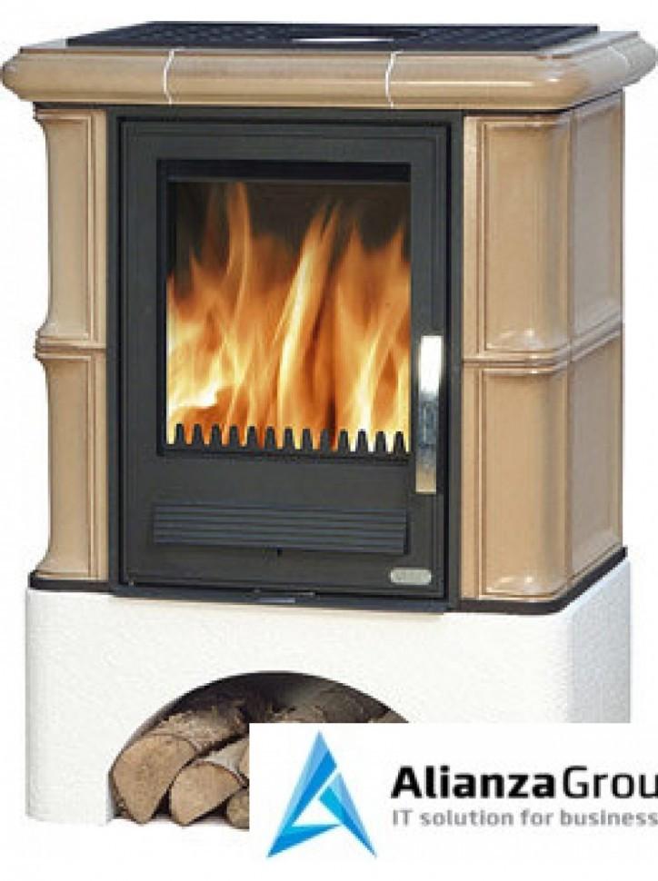 Кафельная печь-камин ABX Bavaria L (прямой цоколь, чугунная вставка)