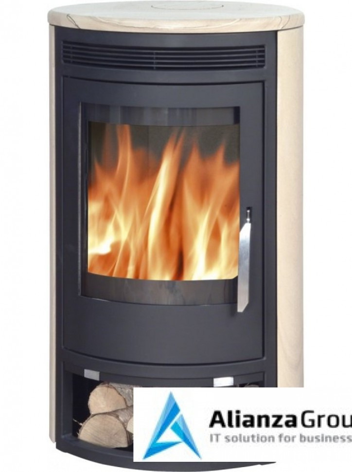 Печь-камин ABX Arktis 6 (черная сталь, бразильский песчаник)