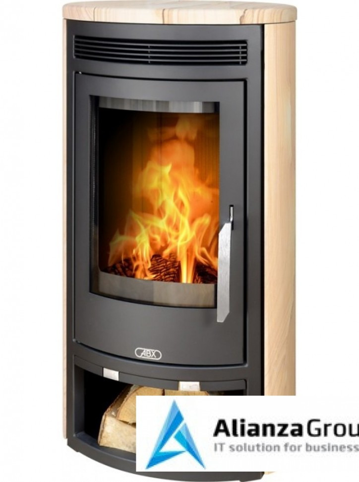 Печь-камин ABX Arktis 4 (черная сталь, бразильский песчаник)
