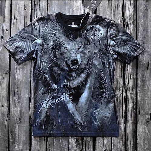 «Волк» тотальная футболка мужская
